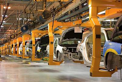 Production Line Photograph - Car Assembly Production Line by Jim West
