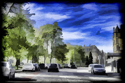 Cars On A Street In Edinburgh Art Print