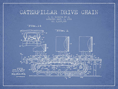 Machinery Digital Art - Caterpillar Drive Chain Patent From 1952 by Aged Pixel