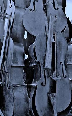 4 Cellos Cyan Art Print