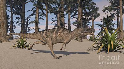 Sheep - Ceratosaurus Hunting In A Prehistoric by Kostyantyn Ivanyshen