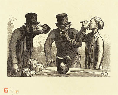 Aged Wood Drawing - Charles Maurand After Honoré Daumier French by Quint Lox