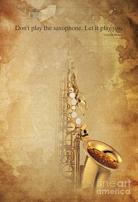 Drummer Digital Art - Charlie Parker Quote - Sax by Pablo Franchi