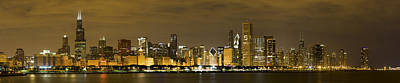 Chicago Skyline At Night Art Print by Sebastian Musial