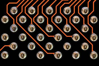 Circuit Board Photograph - Circuit Board Tin Contacts by Antonio Romero