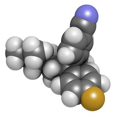 Citalopram Anti-depressant Drug Molecule Art Print by Molekuul