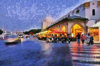 City Of Rhodes During Dusk Time Art Print