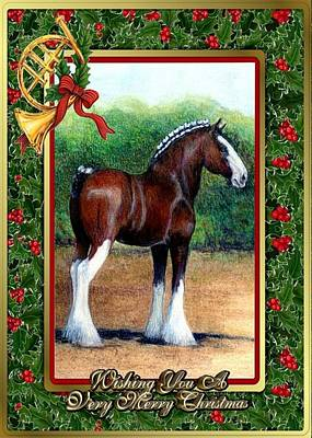 Clydesdale Drawing - Clydesdale Draft Horse Christmas Card by Olde Time  Mercantile