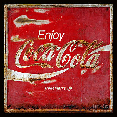 Coca Cola Vintage Rusty Sign Black Border Art Print