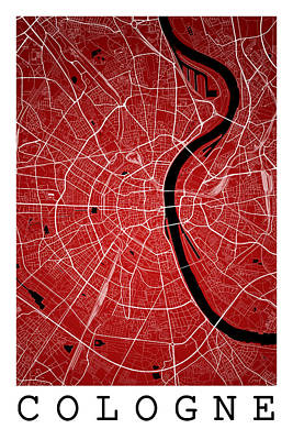 Germany Digital Art - Cologne Street Map - Cologne Germany Road Map Art On Colored Bac by Jurq Studio