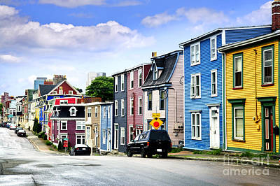 Town Photograph - Colorful Houses In St. John's by Elena Elisseeva