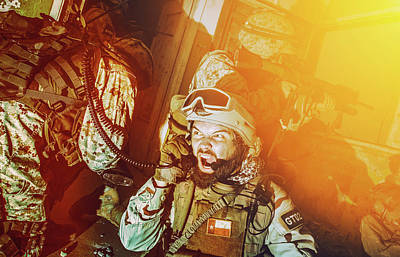 Photograph - Commando Team Leader Screaming In Radio by Oleg Zabielin
