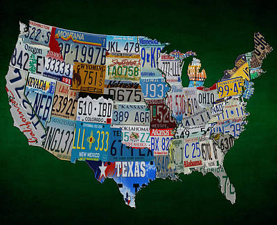 License Tag Usa Map Art Print by Brian Reaves