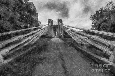 Tourist Attraction Digital Art - Conwy Suspension Bridge by Ian Mitchell