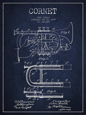 Trumpet Digital Art - Cornet Patent Drawing From 1899 - Navy Blue by Aged Pixel