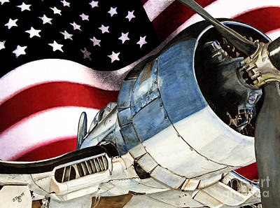 Corsair And Flag Art Print by Shari Nees