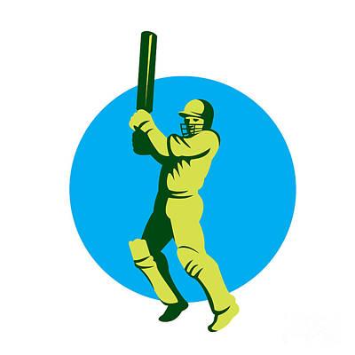Batsman Digital Art - Cricket Player Batsman Batting Circle Retro by Aloysius Patrimonio