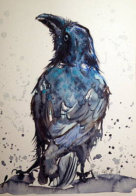 Crows Painting - Crow by Kovacs Anna Brigitta