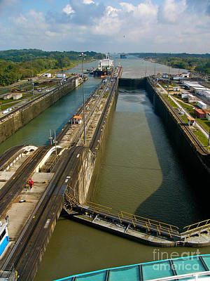 Cruise Ship Passes Through Gatun Locks Panama Canal Art Print