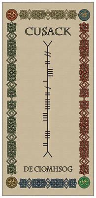 Cusack Written In Ogham Art Print by Ireland Calling