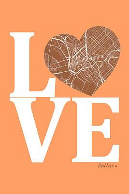 City Map Digital Art - Dallas Street Map Love - Dallas Texas Road Map In A Heart by Jurq Studio