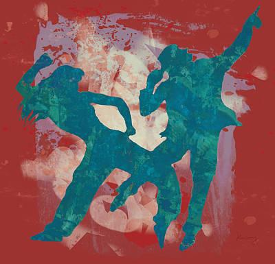 Pop Art Drawing - Dancing Pop Art Stylised Art Poster by Kim Wang