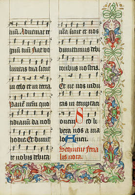 1505 Painting - Decorated Text Page Unknown Germany, Westphalia by Litz Collection