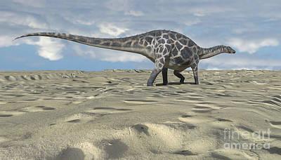 Digital Art - Dicraeosaurus Walking Across An Open by Kostyantyn Ivanyshen