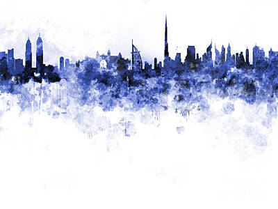 Dubai Skyline Painting - Dubai Skyline In Watercolour On White Background by Pablo Romero