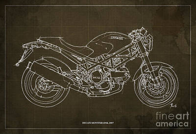 Monster Art Drawing - Ducati Monster 695d 2007 by Pablo Franchi