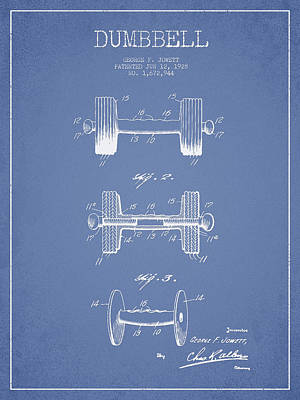 Weightlifting Wall Art - Digital Art - Dumbbell Patent Drawing From 1927 by Aged Pixel