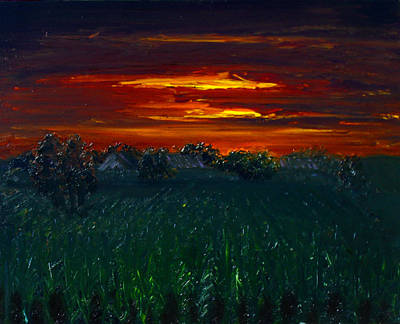 Painting - Dusk Over Corn Field by Angela Stout
