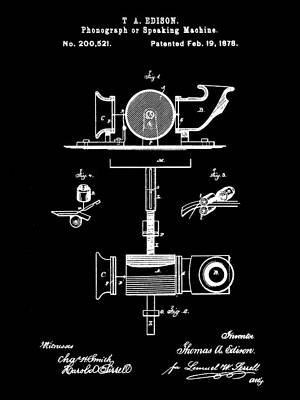 Sound Digital Art - Edison Phonograph Patent 1878 - Black by Stephen Younts