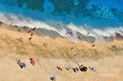 Painting - Egremni Beach In Lefkada Island by George Atsametakis