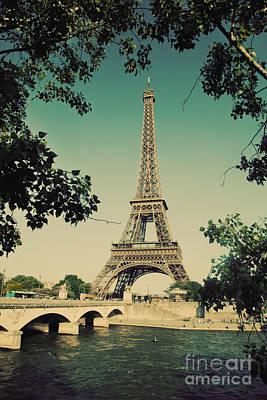 Eiffel Tower Photograph - Eiffel Tower And Bridge On Seine River In Paris by Michal Bednarek