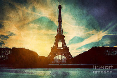Fountain Photograph - Eiffel Tower In Paris Fance In Retro Style by Michal Bednarek