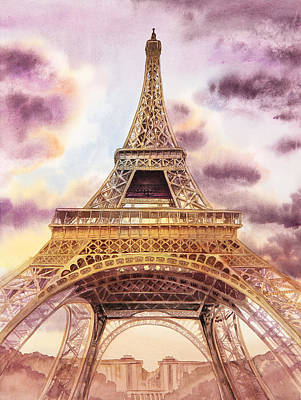 Iron Painting - Eiffel Tower Paris France by Irina Sztukowski