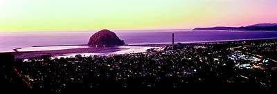 Morro Bay Rock Photograph - Elevated View Of City At Waterfront by Panoramic Images