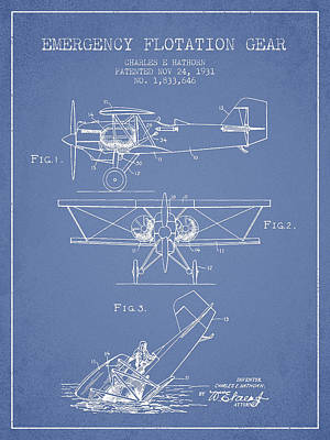 Transportation Digital Art - Emergency flotation gear patent Drawing from 1931 by Aged Pixel