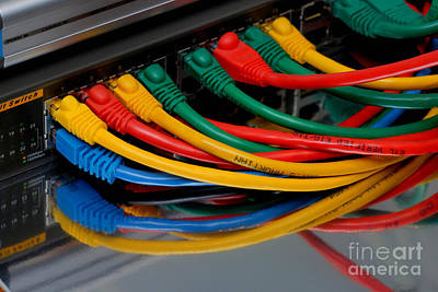Technology Photograph - Ethernet Cables Plugged Into Router by Amy Cicconi