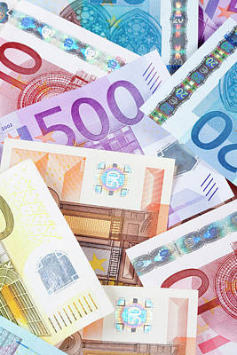 Banknote Photograph - Euro - European Union Banknotes by Panoramic Images