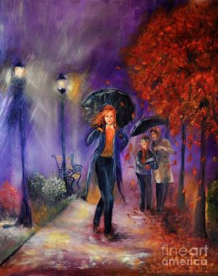 Shower Head Painting - Evening Walk by Sandra Aguirre