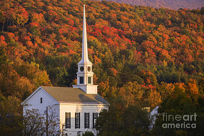 Photograph - Fall Foliage Behind A Rural Vermont Church by Don Landwehrle