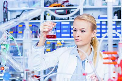 Female Chemist Working In Lab Art Print by Wladimir Bulgar/science Photo Library