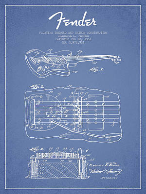 Smallmouth Bass Digital Art - Fender Floating Tremolo Patent Drawing From 1961 - Light Blue by Aged Pixel