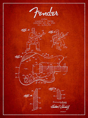 Smallmouth Bass Digital Art - Fender Guitar Patent Drawing From 1960 by Aged Pixel