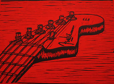 Lino Drawing - Fender Strat by William Cauthern