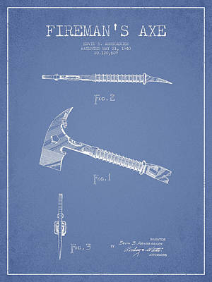 Drawing - Fireman Axe Patent Drawing From 1940 by Aged Pixel
