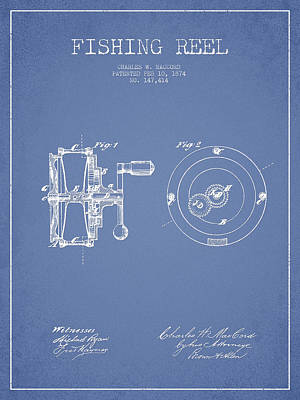 Fishing Reel Patent From 1874 Art Print by Aged Pixel