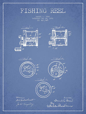 Fishing Reel Patent From 1892 Art Print by Aged Pixel